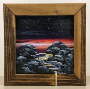 <p><strong>Holly Briggs</strong></p><p><em>Astral Plane</em></p><p><small>Wood, acrylic and thread</small></p><p><small>Mooreland Heights Elementary</small></p>