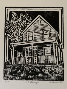 <p><strong>Dr. Heather. Casteel</strong></p><p><em>719 Deery</em></p><p><small>linocut</small></p><p><small>Fine Arts Supervisor</small></p>