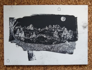 <p><strong>Audrey Nitz</strong></p><p><em>Leftover Landscape</em></p><p><small>Ink on clayboard</small></p><p><small>East Knox County Elementary</small></p>
